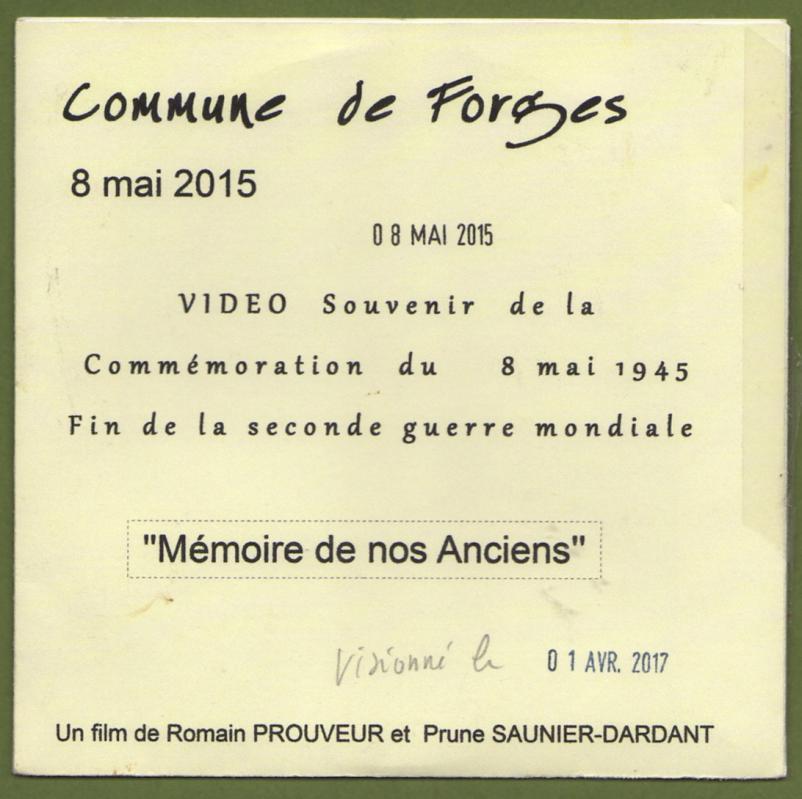 Pochette dvd forges 8 mai 2015 verso